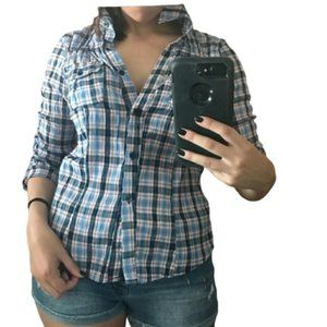 Western Three Quarter Sleeve Plaid Button Up
